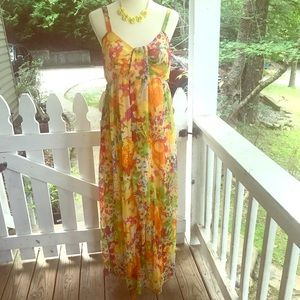 Klozlyne Floral Maxi Dress M FREE SHIP